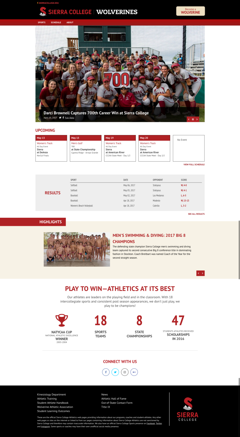 Athletics site home