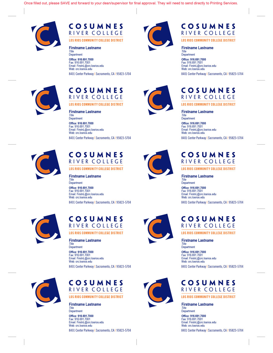 Cosumnes River College Business Card Fillable PDF Template – Chihiro ...